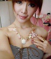 New Arrival Free Shipping  Korean Nice Style Elegant Shell Flower Lolita Necklace N95