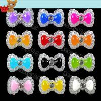 New 240pcs/Lot  12 Mix Color Acrylic Cute Bowknot Bow Tie Glitters Gel UV 3D Nail Art Tips  Nail Decoration 5551