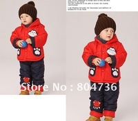 Children / Baby winter suit +pant lovely monkey clothing boy fur clothing suit winter clothing set kids suit 2-4years