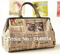 New Retro Canvas Newspaper  Travel bags Vintage Style paper Womens Handbag Tote Shoulder Bag #928