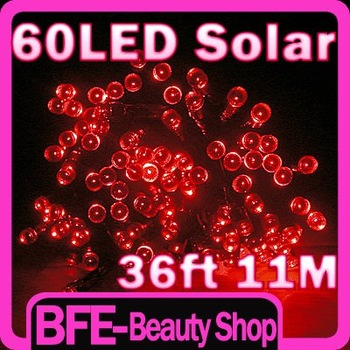 Holiday Sale Red Christmas Light 36FT 11M 60 Solar LED Lights Lamp Strips Holiday Light New Year Party Camping