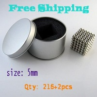 Free Shipping! 5mm BuckyBalls Magnetic Ball, 216pcs/set+2pcs with metal box, Nickel, Neo Cube Magnet Ball Neodymiums NEOCUBE