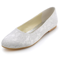 Fashion Woman Flat Shoes Plus Size Elegant EP11106 White Round Toe Lace Bridal Flats Wedding Shoes