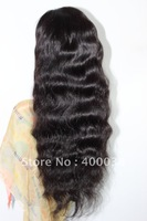 "Hot Sale Indian remy hair Silk top full lace wigs 12""-24"" 1B# Off black Natural Wave Lace wigs in stock Medium cap Free Shipping"
