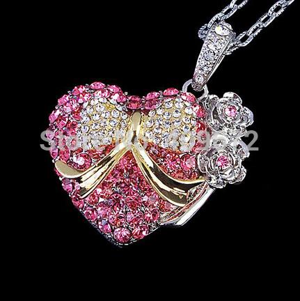 Retail full 2G/4G/8G/16G/32G usb drive pen drive usb flash drive memory stick jewelry pretty heart pendrive Free Drop shipping