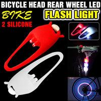 2 Silicone Bike Bicycle Head Rear Wheel LED Flash Light