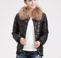 New 2012 Casual Dust Women's Winter Coats Fur collar Short Cotton-padded Clothes Slim Outwear Fashion