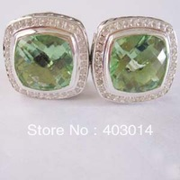 Free Shipping 100% Sterling Silver 11mm  Green Cubic Zircon Earrings