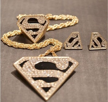 Christmas Gifts!Fashion Statement Jewelry Set Modern Geometric S Shape Superman Triangle Rhinestone Necklace Stud Earrings Rings