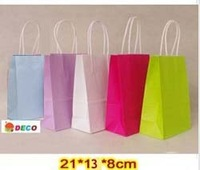 NEW kraft paper bag with handle, 21x13x8cm, Shopping bag, Fashionable gift paper bag, Wholesale price  (SS-311)