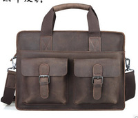 Cattle crazy horse leather commercial man bag fashion vintage handmade briefcase handbag male shoulder bag 1017