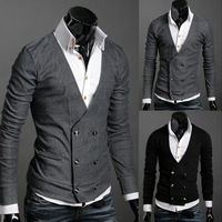 Free shipping 2013 Hot Men Vests Double Platoon To Buckle Men Import Abb Knitting Cardigan Sweater Shirts Black Gray M L XL