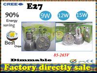 Factory directly sale 50pcs/lot CREE Bulb led bulb E27 9W 12W 15W 110-240V Dimmable led Light led lamps spotlight free shipping