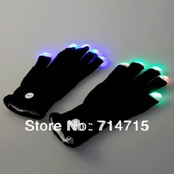 5pair 7 Mode LED Gloves Rave Light Finger Lighting Flashing Glow Mittens black Free / Drop Shipping
