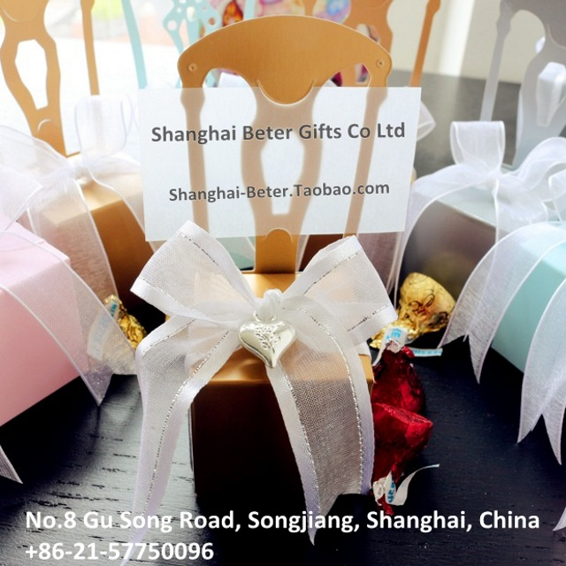 Free Shipping 384pcs Gold Chair Favor Boxes TH002-B0 Wedding Decoration and Wedding Gift(China (Mainland))