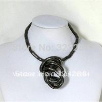 "DHL Free shipping hematite black charcoal bendy bendable snake necklace, diameter 5mm length 90cm(39"")"