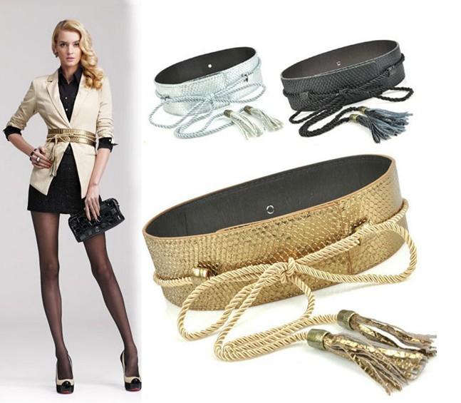 Wide Fashion Belt wide dress belt gold