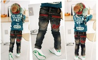 2014 Seconds Kill Freeshipping Straight Casual Unisex Elastic Waist Light Low Free Shipping!2013 New Letter And Jeans