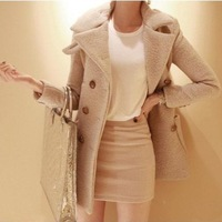 Free shipping Autumn and Winter Woolen Outerwear Woolen Slim Double Breasted Wool Coat 3 Colours