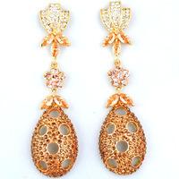 Rihood rhinestone earring vintage wedding jewelry DROP EARRINGS 18K GOLD TONE   BA-207  BROWN/PURPLE  2014