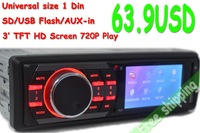 12V Car MP4 Mp3 Player Car Audio Radio FM Transmitter 3 inch TFT Screen Vedio USB/SD Card Remote Control 302B