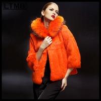 2014 fashionable full pelt of rex rabbit fur coat for ladies and girls Women rex rabbit fur short coat with big fur hood collar