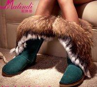 2012 snow boots fox fur cowhide women's shoes rabbit fur cow muscle outsole high tassel