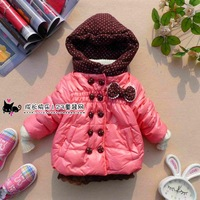 2014 winter children's clothing female child hat dot double button baby outerwear children's clothing outerwear wadded jacket