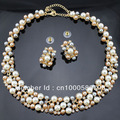 PN1203365 Classic Imitation Pearl Necklace Set Pearl Jewelry Set Gold Plated Clear Crystal Top Elegant Party Gift Free Shipping