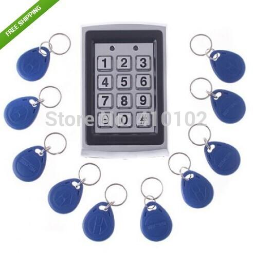 10Pcs Card Free +Metal Proximity RFID Card Door Entry Single Door Lock Waterproof Access Control System Keypad(China (Mainland))