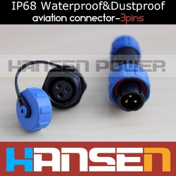 3 Pins Waterproof &amp; Dustproof Aviation Connector,IP68,Cable Connector+Rear mount,Plug and socket(China (Mainland))