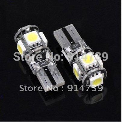 Free Shipping 20pcs/lot T10 Canbus W5W 194 5050 SMD 5 LED Error Free White Light Bulbs