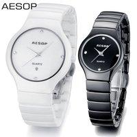 AESOP Luxury Pure Ceramic Bracelet Steel Case Watch Fashion Women Dress Rhinestone Watches CZ Diamond Wristwatch 9918