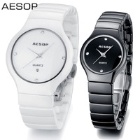Aesop couple watch ceramic quartz watch waterproof top quality black and white wristwatches 9918