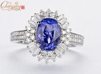 Fine Jewelry Solid14k WHITE GOLD Natural DIAMOND NATURAL 2.33ct TANZANITE Gemstone RING 14ct Gold  Wholesale
