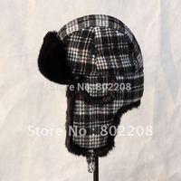 new 2014 FASHION WIND PROOF TRAPPER HAT RUSSIAN CHECK  EARCUFF HELMET CAP WINTER WARM FUR WOMEN/MEN HAT WITH FREE SHIPPING