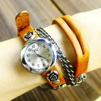 New arrived Wholesale Genuine Cow Leather ROSE vintage watch women ladies Fashion Wrist quartz Watch kow027