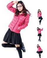 Top qualiy Brand MB Ladies' short slim  down jacket, Fashion Rose red Solid winter jacket