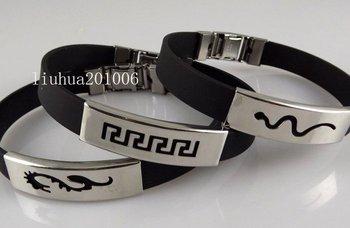 wholesale Men's jewelry 12 pcs quality black rubber stainless steel bracelets