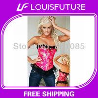 pink underbust corset lingerie bustier sexy lingerie corset garter+g-string 1 set&blue corsets CS0029