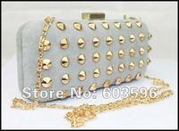 1pcs Lady's New Gray Velour Gold Rivet Evening bag/shoulder/clutch/purse/chain bag