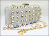 1pcs Lady's New Gray Velour Gold Rivet Evening bag/shoulder/clutch/purse/chain bag