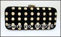 1pcs Lady's New Fashion Black Velour Rivet Evening bag/shoulder/clutch/purse/chain bag