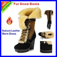 New Fashion Womens Winter Boots Sexy Genuine Leather Boots 10CM High Heel Boots Fur Snow Boots Black Nubuck Leather Warm Shoes