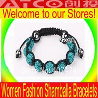 free shipping,20pcs/lot Charms Wholesale New Women Bracelet Tresor Paris Shamballa Bracelets Micro Pave CZ Disco Ball Bead CT907