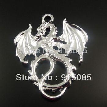 Silver Tone Alloy Flying Dragon Pendant Fashion Charm 35*28*2mm 24PCS 32440