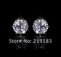 IWE0006-4 Free shipping wholesale 6mm silver fancy CZ stud earrings,wholesale high quality classic fashion jewelry,Nickle free