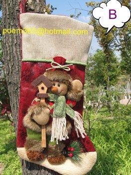 HIGH QUALITY Adorable 3D Felt Applique Stockings/Handmade Christmas Stocking (B: Snow man) CHRISTMAS GIFT