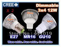 High quality~High power CREE led lamp 4x3W 12W E27/GU10/MR16 Dimmable 110-240V Led Lights Led Spotlight Bulbs Downlight 2pcs
