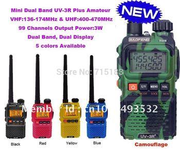 New Arrival Dual Band Mini Pocket two way radio BAOFENG UV-3R+ Plus 99 channels vhf&uhf  walkie talkie free shipping